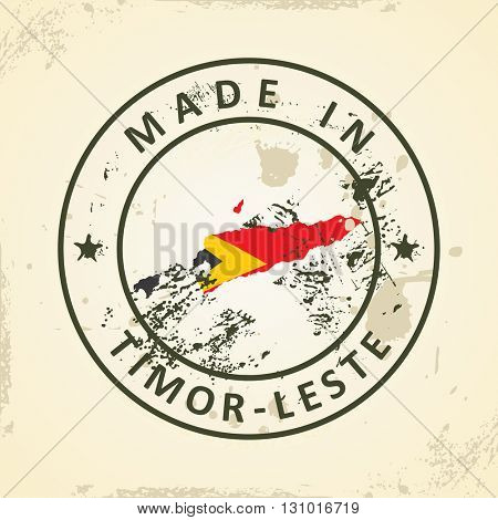 Grunge stamp with map flag of Timor-Leste - vector illustration