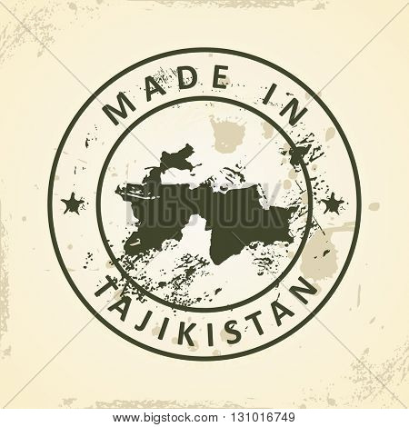 Grunge stamp with map of Tajikistan - vector illustration