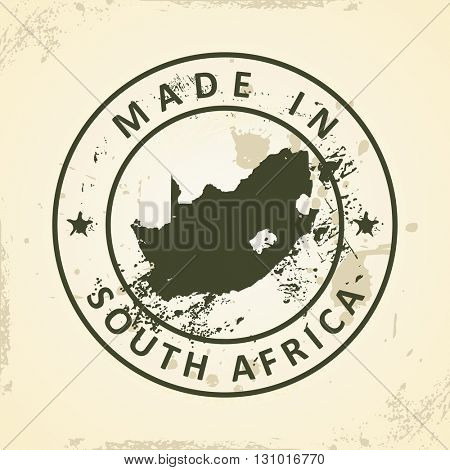 Grunge stamp with map of South Africa - vector illustration