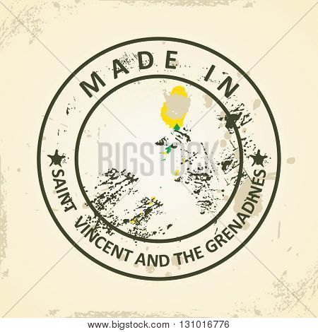 Grunge stamp with map flag of Saint Vincent and the Grenadines - vector illustration