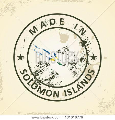 Grunge stamp with map flag of Solomon Islands - vector illustration