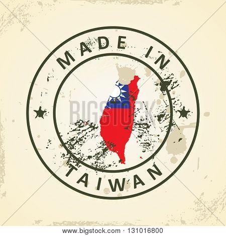 Grunge stamp with map flag of Taiwan - vector illustration