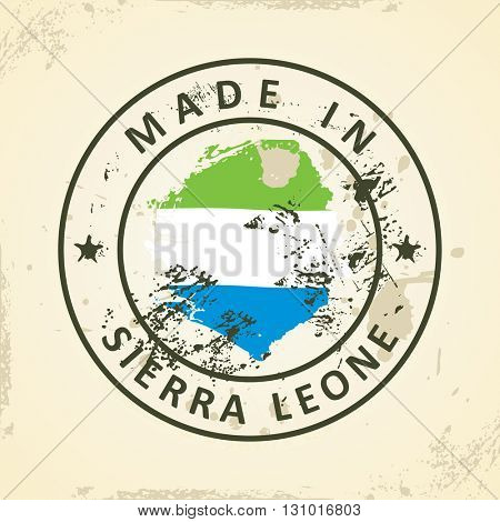 Grunge stamp with map flag of Sierra Leone - vector illustration
