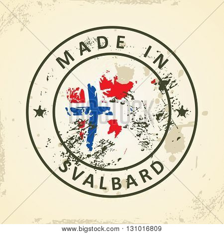 Grunge stamp with map flag of Svalbard - vector illustration