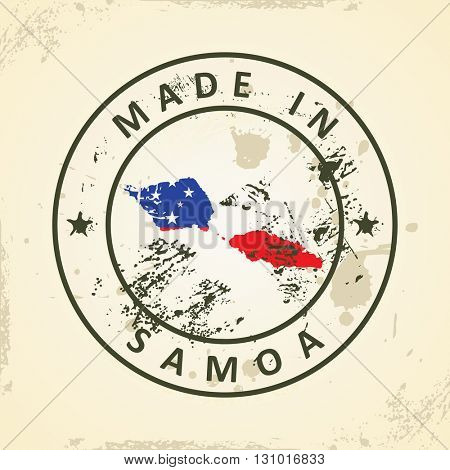 Grunge stamp with map flag of Samoa - vector illustration