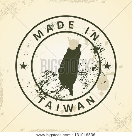 Grunge stamp with map of Taiwan - vector illustration