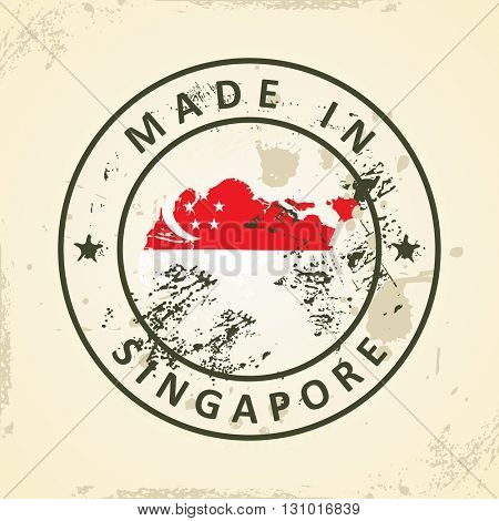 Grunge stamp with map flag of Singapore - vector illustration