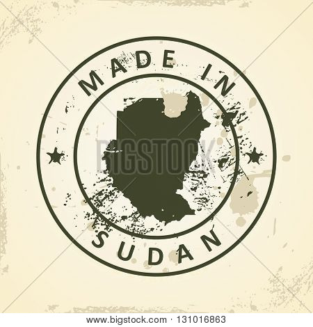 Grunge stamp with map of Sudan - vector illustration