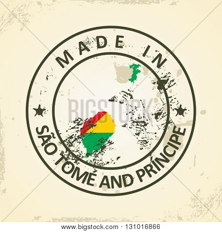 Grunge stamp with map flag of Sao Tome and Principe - vector illustration