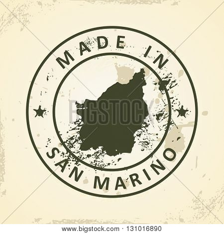 Grunge stamp with map of San Marino - vector illustration