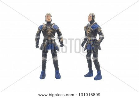 Isolated knight toy photo front and angle view.