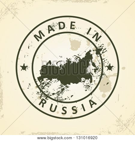 Grunge stamp with map of Russia - vector illustration