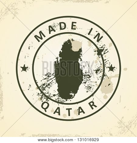 Grunge stamp with map of Qatar - vector illustration