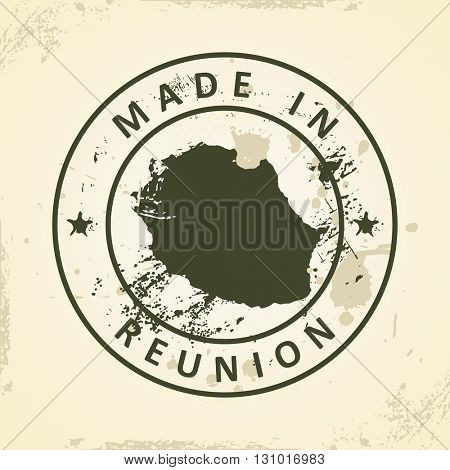 Grunge stamp with map of Reunion - vector illustration