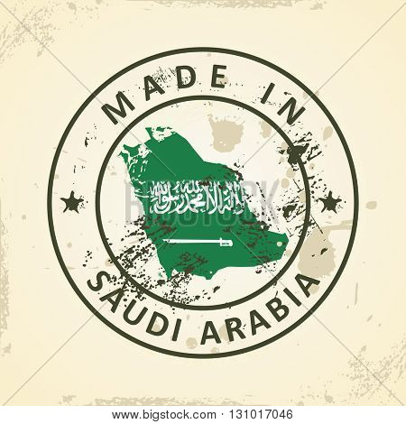 Grunge stamp with map flag of Saudi Arabia - vector illustration