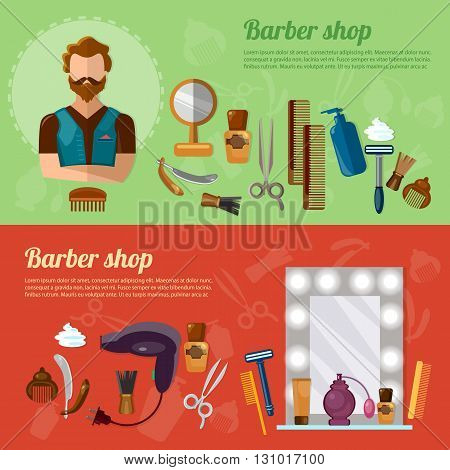 Barbers shop banner barber tools professional hairdresser hipster beard vector illustration