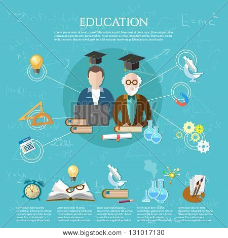 Education infographic professor and student learning open book of knowledge vector illustration