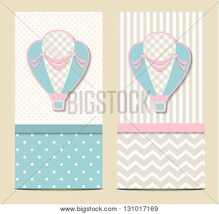 Two blue retro styled banner templates with vintage hot air balloon, vector illustration, eps 10 with transparency