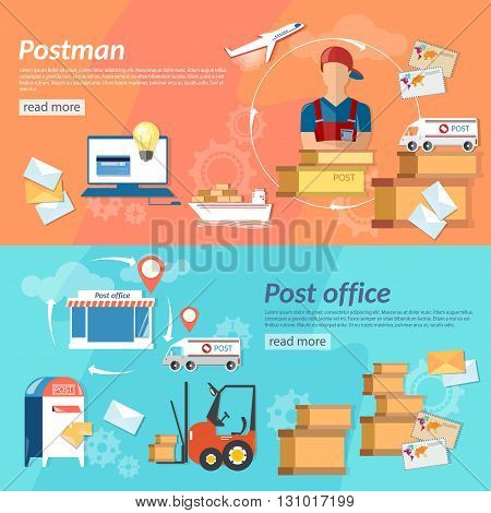 Post horizontal banners postman post office shipping and handling mail vector illustration