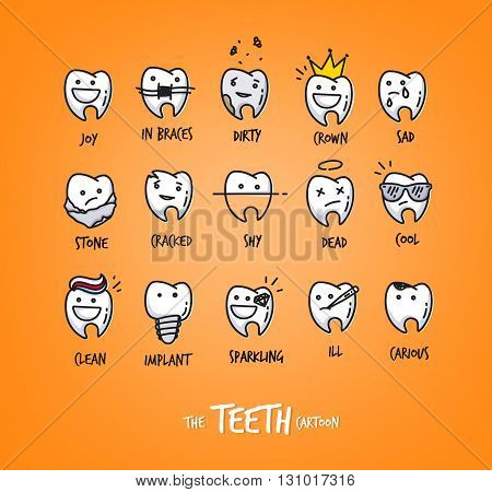 Set of teeth in different situations drawing on orange background.