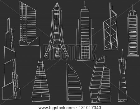 Vector line art Doodle set of cartoon characters and objects tall buildings. Tower blocks chalk