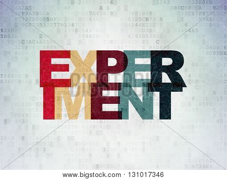 Science concept: Painted multicolor text Experiment on Digital Data Paper background