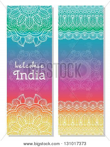 Set of Indian traditional mandala ornament illustration concept. Poster bookmenu abstract ottoman motifs element. Vector decorative ethnic greeting card or invitation design background.