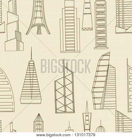 Vector line art Doodle set of cartoon characters and objects tall buildings. Tower blocks seamless retro