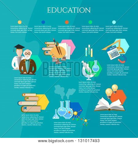 Education infographic open book of knowledge professor and student learning vector illustration
