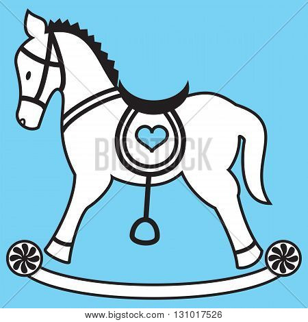 Boys Rocking horse icon on blue background with heart element