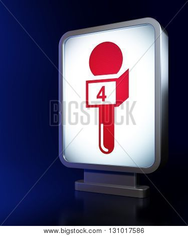 News concept: Microphone on advertising billboard background, 3D rendering