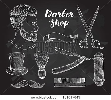 Vector vintage hand drawn Barber Shop set on chalkboard. Detailed illustrations. Hipster man with beard mustage scissors ribbon whisker and lettering styled text.