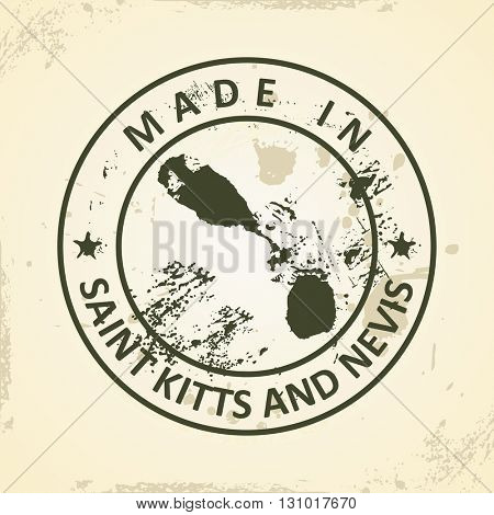 Grunge stamp with map of Saint Kitts and Nevis - vector illustration