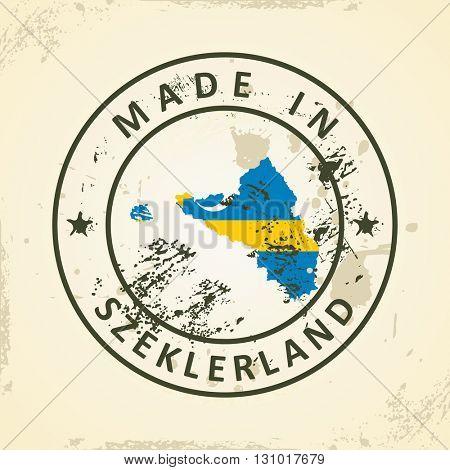 Grunge stamp with map flag of Szeklerland - vector illustration