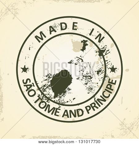 Grunge stamp with map of Sao Tome and Principe - vector illustration