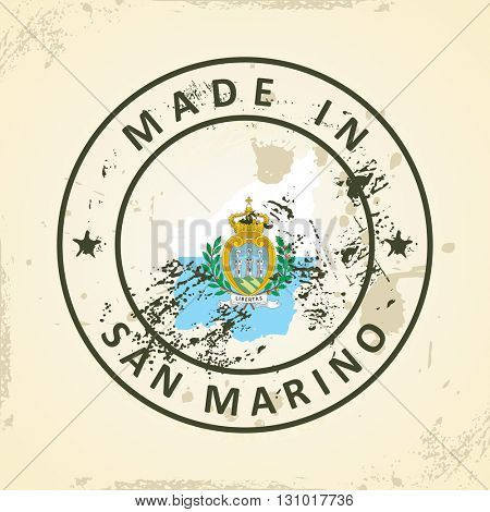 Grunge stamp with map flag of San Marino - vector illustration