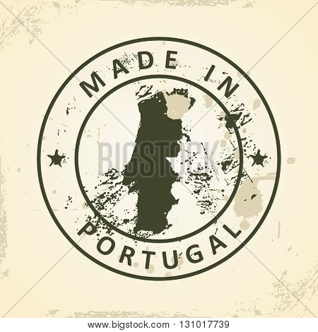 Grunge stamp with map of Portugal - vector illustration