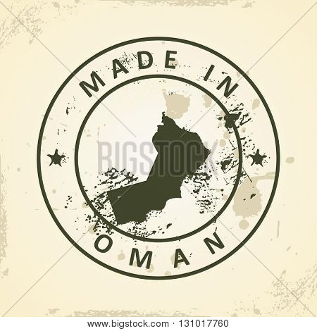 Grunge stamp with map of Oman - vector illustration