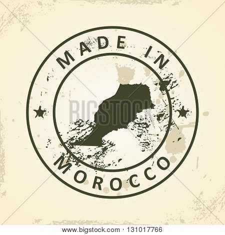 Grunge stamp with map of Morocco - vector illustration