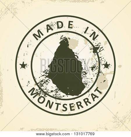 Grunge stamp with map of Montserrat - vector illustration