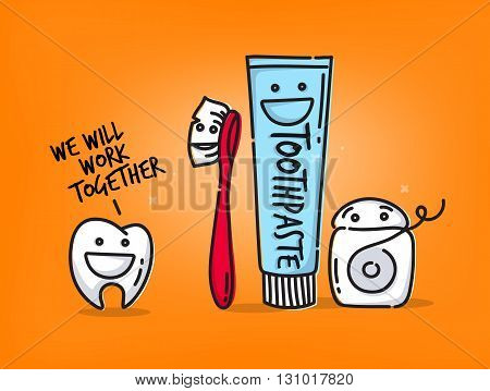 Small amusing tooth toothbrush dental floss toothpaste characters scene drawing on orange background.