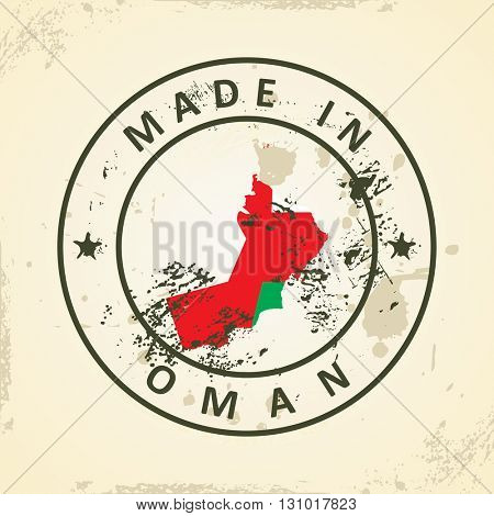 Grunge stamp with map flag of Oman - vector illustration
