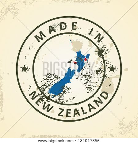Grunge stamp with map flag of New Zealand - vector illustration