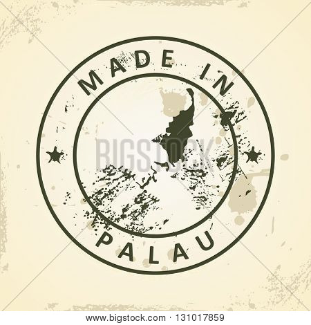 Grunge stamp with map of Palau - vector illustration