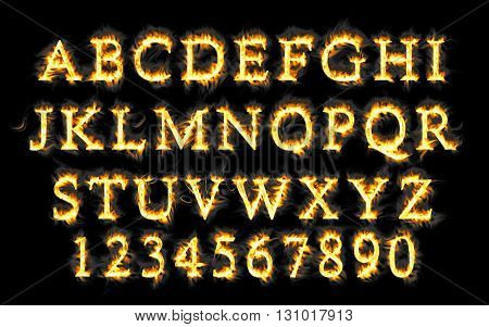 Fire font collection, Fire text collection. Alphabet of flame