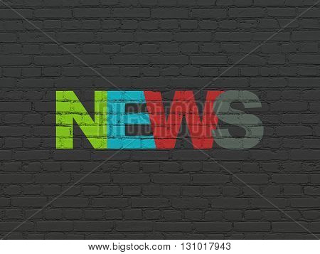 News concept: Painted multicolor text News on Black Brick wall background