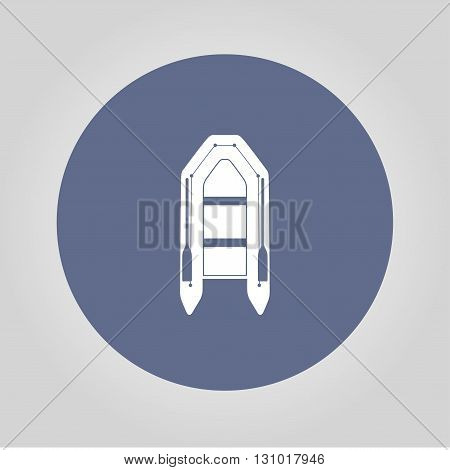 Inflatable boat flat icon. Concept illustration for design.