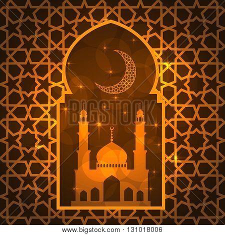 Ramadan greeting card on yellow background. Vector illustration.
