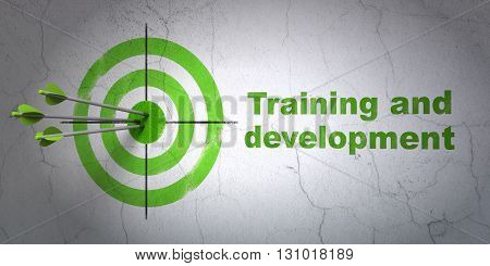Success Learning concept: arrows hitting the center of target, Green Training and Development on wall background, 3D rendering