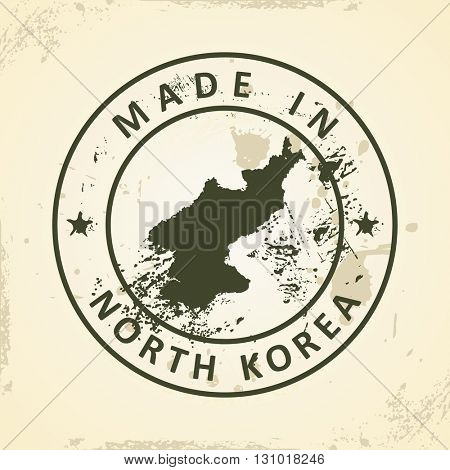 Grunge stamp with map of North Korea - vector illustration